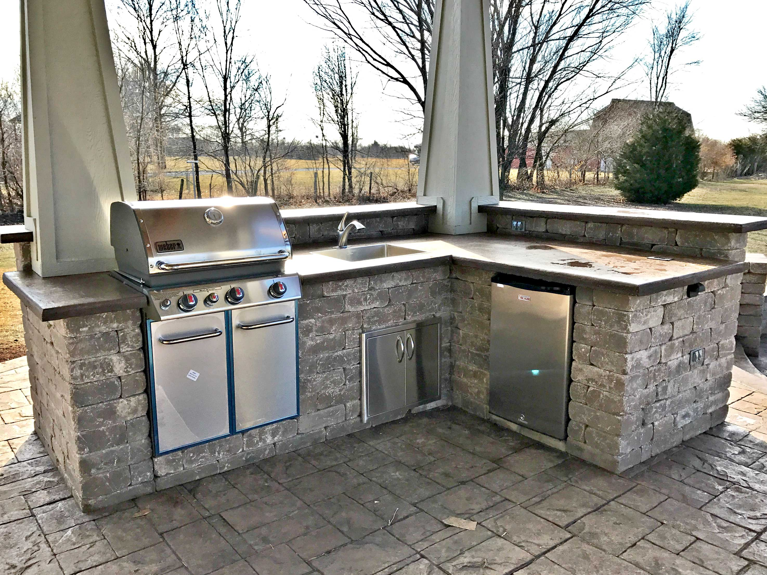 Stamped Concrete Kansas City Patios Hardscaping Fire Pits ... on Patio Grill Station id=27356