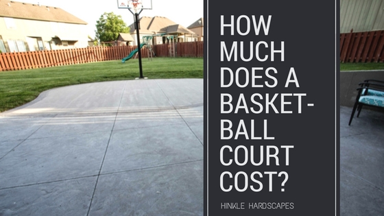 Backyard with a fire pit basket ball court for How much does a basketball court cost