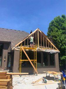 removing deck pouring concrete base